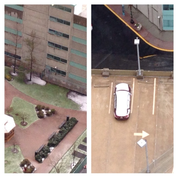 Notice- the sole car parked in the open- its roof is all covered with snow!