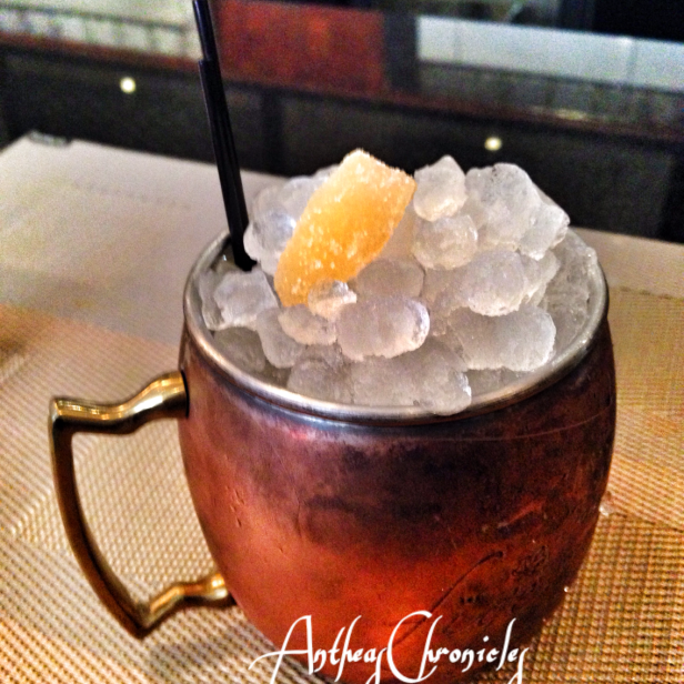 I opted for the Adraki Punch (adrak-ginger), served in a copper mug with loads of ice, fig infused Vodka, lemon, grapefruit, and house made ginger syrup.