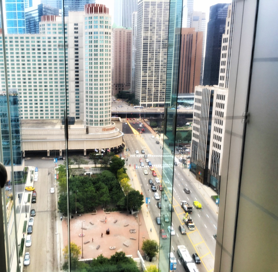 The view from our hotel elevator